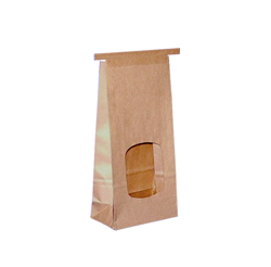 Tin Tie Window Paper Bag with Biodegradable PLA Liner